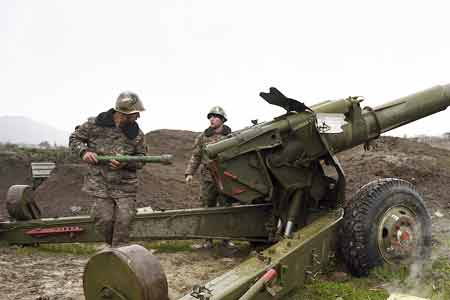 The Armed Forces of Azerbaijan, grossly violating the ceasefire  agreement for humanitarian purposes, fired at the northeastern combat  positions of the Armenian forces from artillery