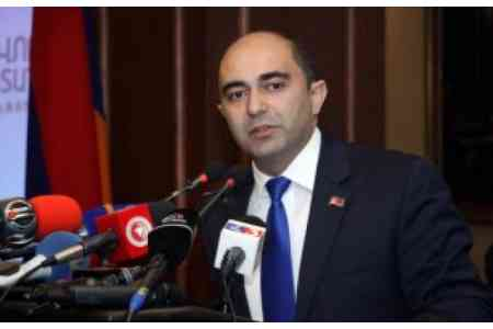 Leader of the Bright Armenia faction is in the office of the Chairman  of the RA National Assembly