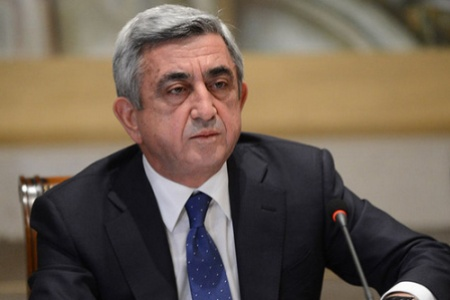 Third President of Armenia Serzh Sargsyan arrives in Artsakh