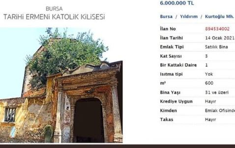 Garo Paylyan: Armenian Church for Sale in Bursa, Turkey